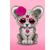 Pink Day of the Dead Sugar Skull White Lion Cub Photographic Print