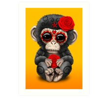 Red Day of the Dead Sugar Skull Baby Chimp Art Print