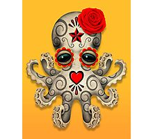 Red Day of the Dead Sugar Skull Baby Octopus Photographic Print