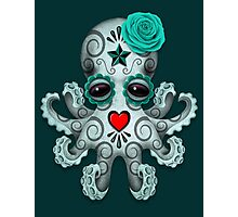 Blue Day of the Dead Sugar Skull Baby Octopus Photographic Print