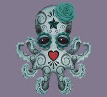 Blue Day of the Dead Sugar Skull Baby Octopus Kids Tee