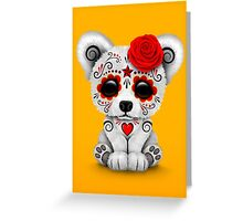 Red Day of the Dead Sugar Skull Polar Bear on Yellow Greeting Card