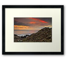 Sunset at Giants Causeway. Framed Print