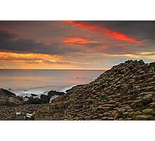 Sunset at Giants Causeway. Photographic Print
