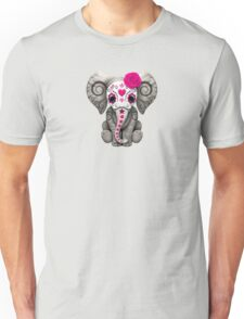 Pink Day of the Dead Sugar Skull Baby Elephant Unisex T-Shirt