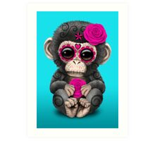 Pink Day of the Dead Sugar Skull Baby Chimp Art Print