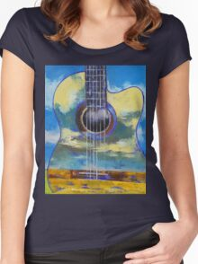Guitar and Clouds Women's Fitted Scoop T-Shirt
