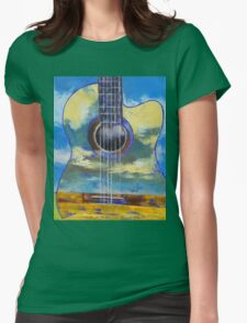 Guitar and Clouds Womens Fitted T-Shirt