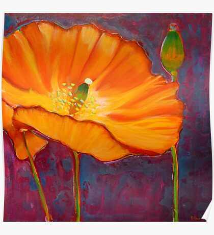 Poppy dance, mixed media on canvas Poster