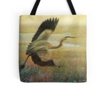 great blue heron flight Tote Bag