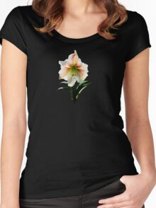 White Lily With Red Stripes Women's Fitted Scoop T-Shirt