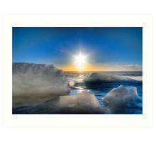 Sun over a Frozen Lake Art Print