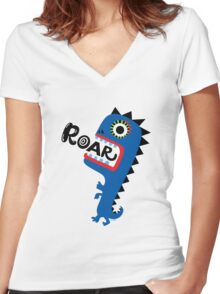 Roar Monster Women's Fitted V-Neck T-Shirt