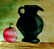 Black Ceramic Pitcher and Apple, watercolor by Anna  Lewis