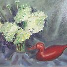 Flowers with a Red Duck by Richard Nowak