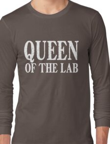 Queen of the Lab - White Text Long Sleeve T-Shirt