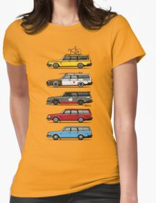 Stack of Volvo 200 Series 245 Wagons Womens Fitted T-Shirt