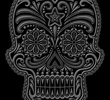 Intricate Gray and Black Sugar Skull by Jeff Bartels
