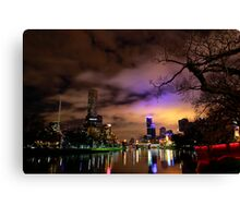 """Yarra River and Melbourne Night Skyline"" Canvas Print"