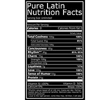 Nutritional Facts! Latin Version 1.0  Photographic Print