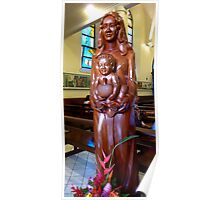 Mother Child and Breadfruit Papeete Tahiti Poster