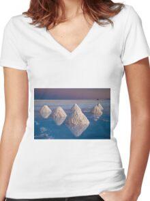 Salt mounds Women's Fitted V-Neck T-Shirt