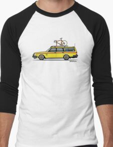 Yellow Volvo 245 Wagon With Roof Rack and Vintage Bicycle Men's Baseball ¾ T-Shirt