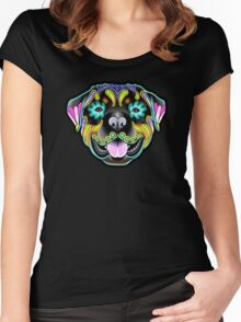 Day of the Dead Rottweiler Sugar Skull Dog Women's Fitted Scoop T-Shirt