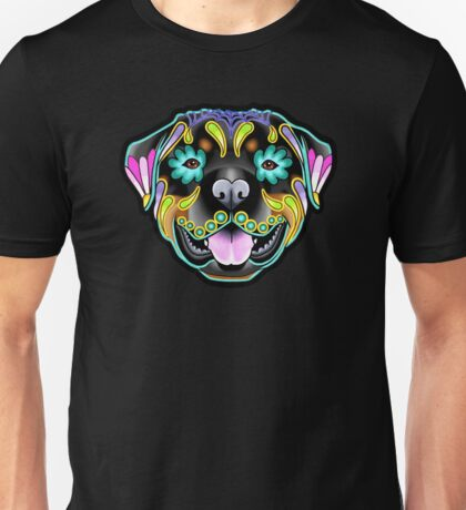 Day of the Dead Rottweiler Sugar Skull Dog Unisex T-Shirt