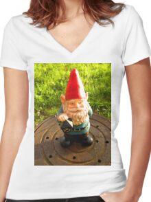 Manhole Gnome Women's Fitted V-Neck T-Shirt