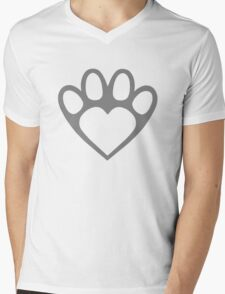 Paw Prints On My Heart in Grey Mens V-Neck T-Shirt