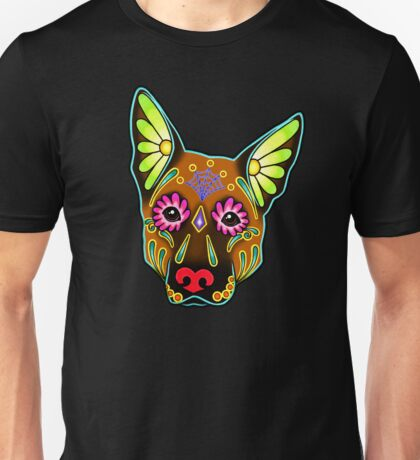 Day of the Dead German Shepherd in Brown Sugar Skull Dog Unisex T-Shirt