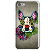 Day of the Dead Boston Terrier Sugar Skull Dog iPhone Case/Skin