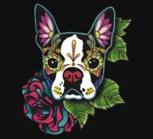 Day of the Dead Boston Terrier Sugar Skull Dog One Piece - Short Sleeve