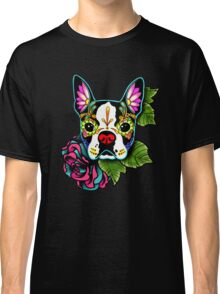 Day of the Dead Boston Terrier Sugar Skull Dog Classic T-Shirt