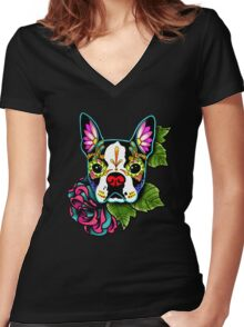 Day of the Dead Boston Terrier Sugar Skull Dog Women's Fitted V-Neck T-Shirt