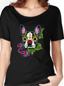 Day of the Dead Boston Terrier Sugar Skull Dog Women's Relaxed Fit T-Shirt