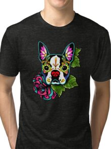 Day of the Dead Boston Terrier Sugar Skull Dog Tri-blend T-Shirt