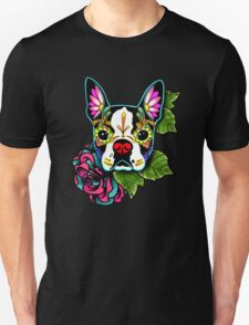 Day of the Dead Boston Terrier Sugar Skull Dog T-Shirt