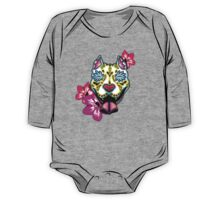Day of the Dead Slobbering Pit Bull Sugar Skull Dog One Piece - Long Sleeve