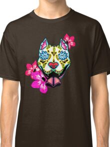 Day of the Dead Slobbering Pit Bull Sugar Skull Dog Classic T-Shirt