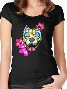 Day of the Dead Slobbering Pit Bull Sugar Skull Dog Women's Fitted Scoop T-Shirt