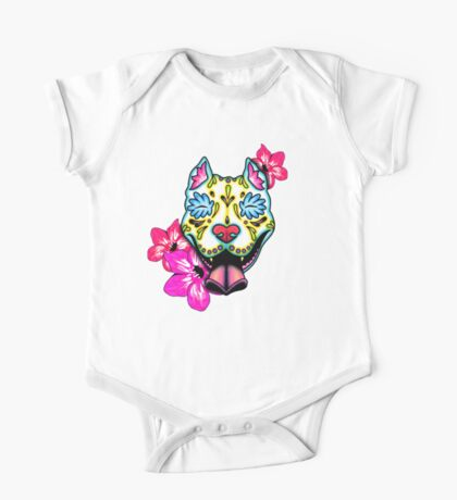 Day of the Dead Slobbering Pit Bull Sugar Skull Dog One Piece - Short Sleeve
