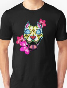 Day of the Dead Slobbering Pit Bull Sugar Skull Dog Unisex T-Shirt