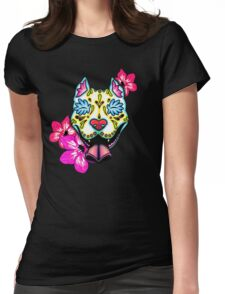 Day of the Dead Slobbering Pit Bull Sugar Skull Dog Womens Fitted T-Shirt