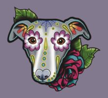 Day of the Dead Whippet / Greyhound Sugar Skull Dog Kids Tee