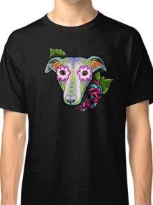 Day of the Dead Whippet / Greyhound Sugar Skull Dog Classic T-Shirt