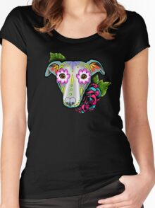 Day of the Dead Whippet / Greyhound Sugar Skull Dog Women's Fitted Scoop T-Shirt