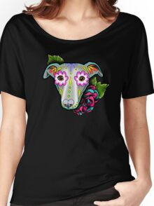 Day of the Dead Whippet / Greyhound Sugar Skull Dog Women's Relaxed Fit T-Shirt