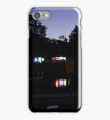 Lake cafe at dusk iPhone Case/Skin